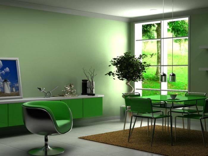 Зелёные фотообои в интерьере фото
