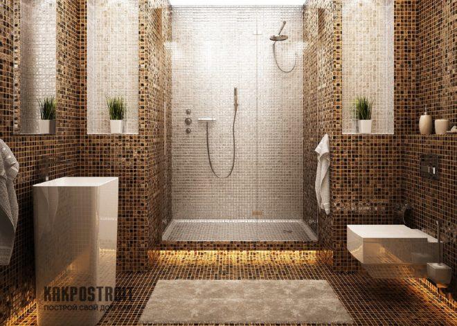 Дизайн плитки в ванной комнате под мозаику
