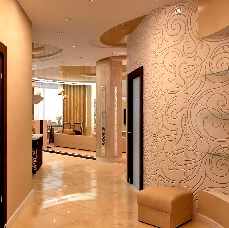 Декоративная штукатурка в интерьере коридора и кухни фото