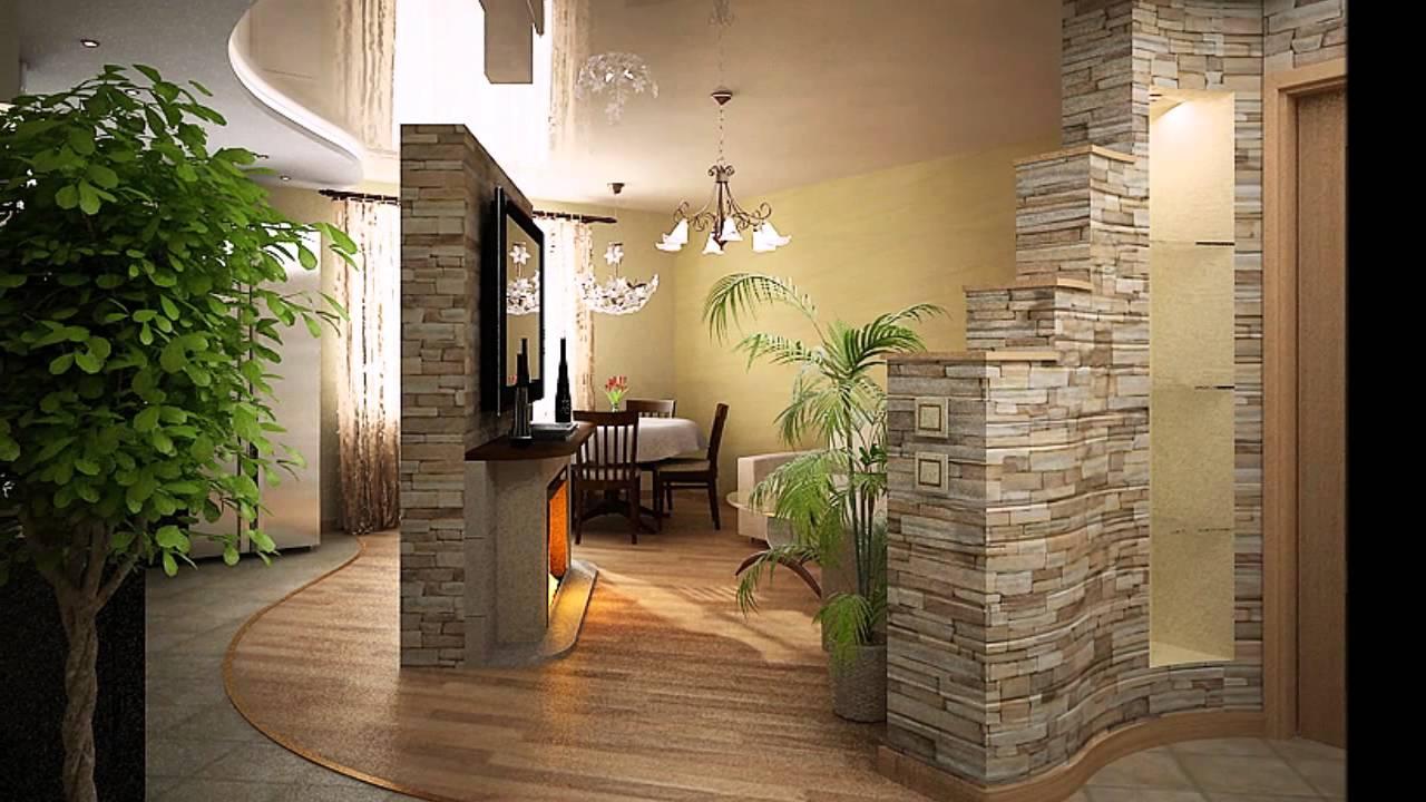 Отделка прихожей декоративным камнем и обоями Дизайн коридоров из дикого камня фото