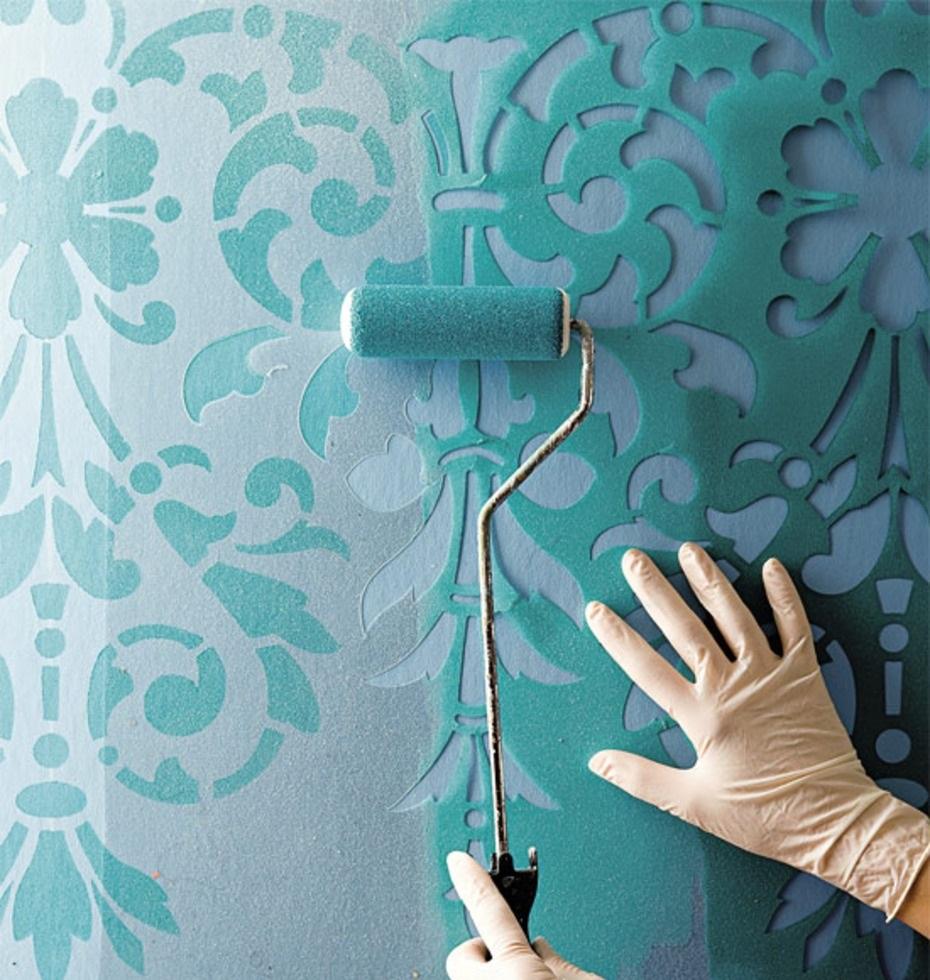 Покраска стен с трафаретами дизайн