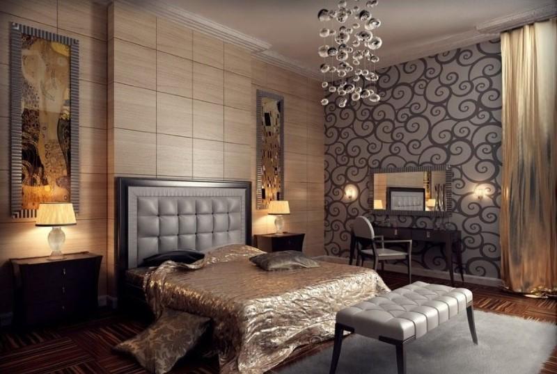 Красивая и необычная спальня в стиле арт деко