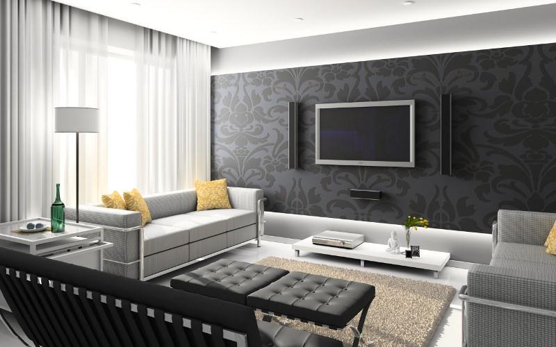 Дизайн помещений и серые обои
