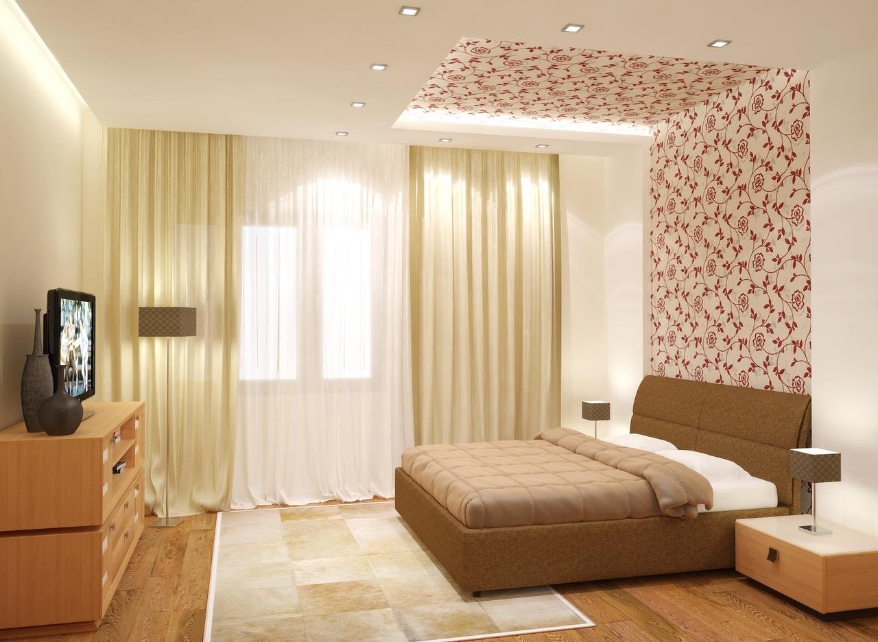 Дизайн спальни с двумя видами обоев фото