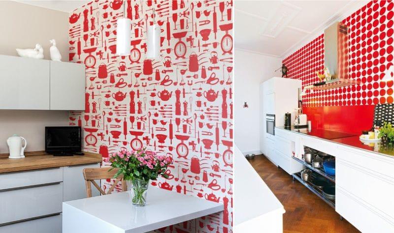 идеи обоев для кухни 54 фото для стен интерьер с цветами