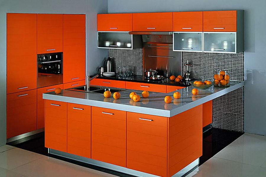 Дизайн оранжевой кухни фотогалерея