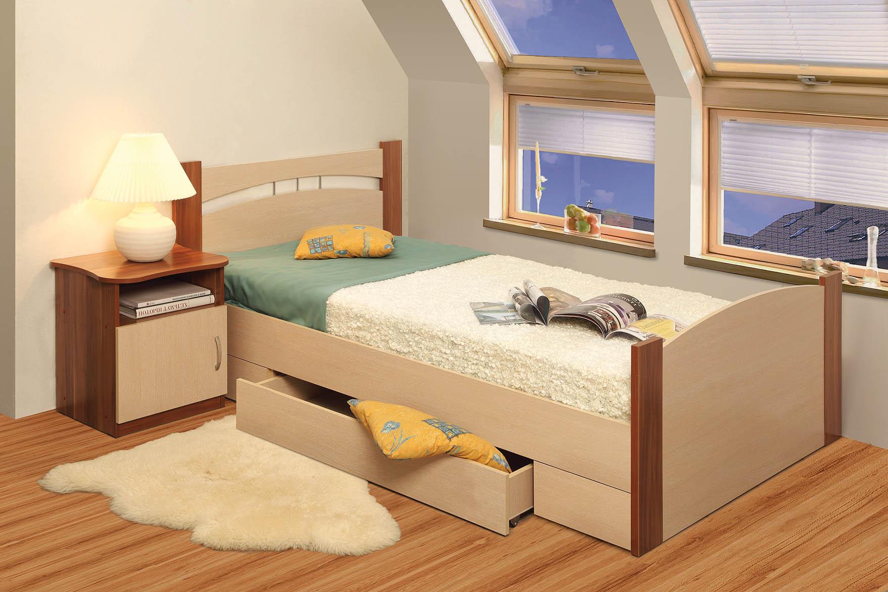cama doble con cajones para el almacenamiento