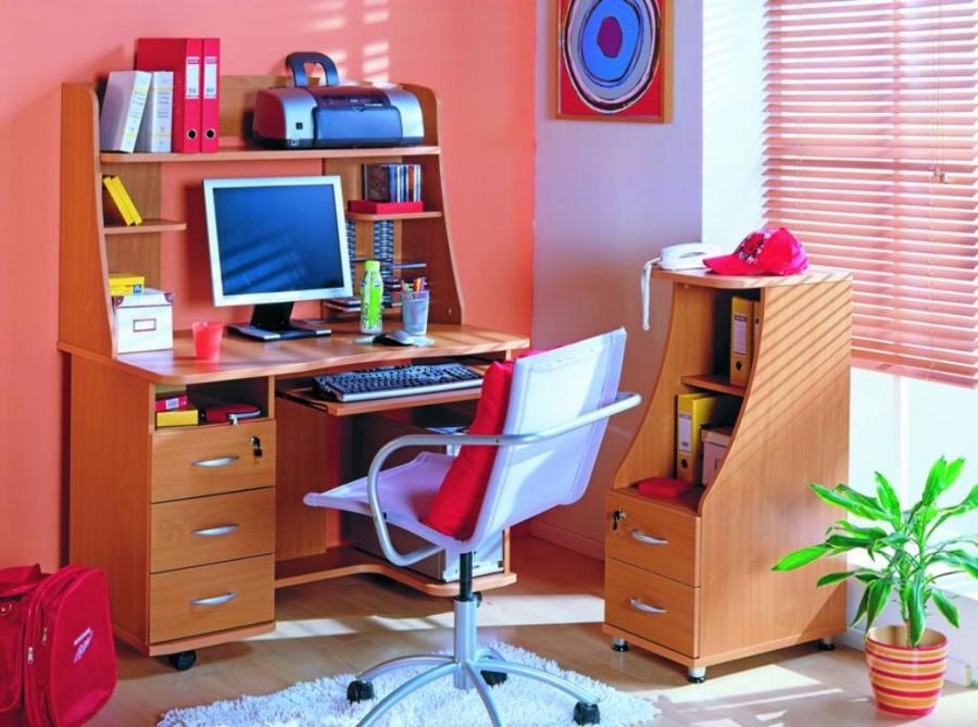 Стол для школьника: угловой, рабочий, полки над письменным д.