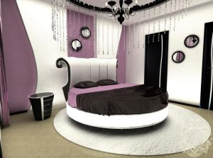Круглая кровать в интерьере комнат