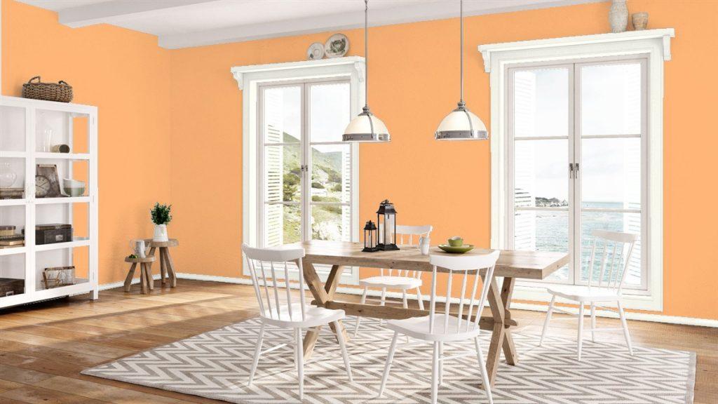 Оттенки персикового цвета в оформлении интерьера