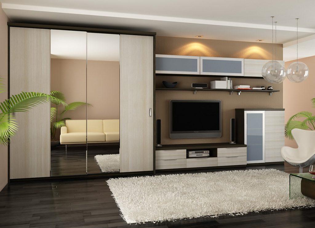 Красивая и функциональная стенка в гостиную