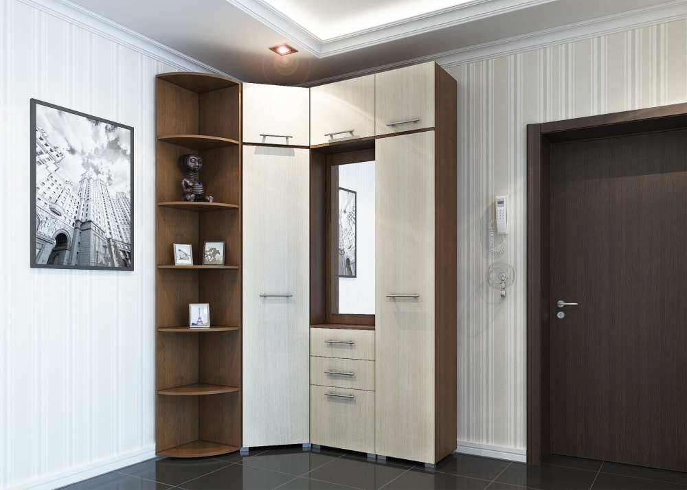 Угловые прихожие для маленьких коридоров: фото, виды шкафов.